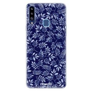 Odolné silikonové pouzdro iSaprio - Blue Leaves 05 na mobil Samsung Galaxy A20s