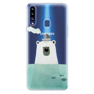 Odolné silikonové pouzdro iSaprio - Bear With Boat na mobil Samsung Galaxy A20s