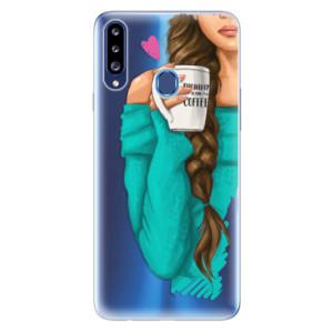 Odolné silikonové pouzdro iSaprio - My Coffe and Brunette Girl na mobil Samsung Galaxy A20s