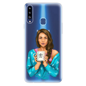 Odolné silikonové pouzdro iSaprio - Coffe Now - Brunette na mobil Samsung Galaxy A20s