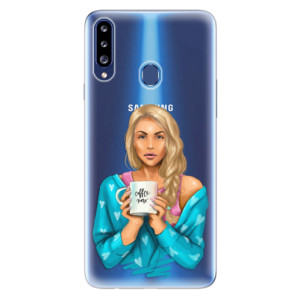 Odolné silikonové pouzdro iSaprio - Coffe Now - Blond na mobil Samsung Galaxy A20s