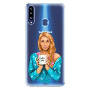 Odolné silikonové pouzdro iSaprio - Coffe Now - Redhead na mobil Samsung Galaxy A20s