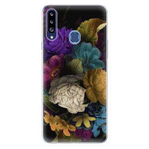 Odolné silikonové pouzdro iSaprio - Dark Flowers na mobil Samsung Galaxy A20s