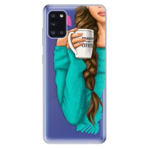 Odolné silikonové pouzdro iSaprio - My Coffe and Brunette Girl na mobil Samsung Galaxy A31