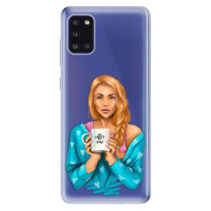 Odolné silikonové pouzdro iSaprio - Coffe Now - Redhead na mobil Samsung Galaxy A31