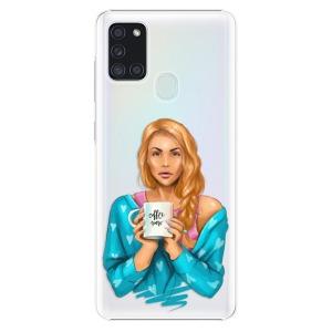 Plastové pouzdro iSaprio - Coffe Now - Redhead na mobil Samsung Galaxy A21s