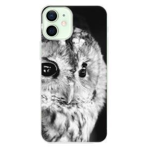 Plastové pouzdro iSaprio - BW Owl na mobil Apple iPhone 12 Mini