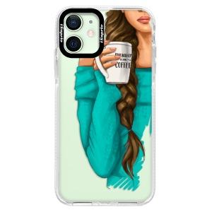 Silikonové pouzdro Bumper iSaprio - My Coffe and Brunette Girl na mobil Apple iPhone 12 Mini