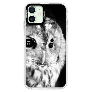 Silikonové pouzdro Bumper iSaprio - BW Owl na mobil Apple iPhone 12