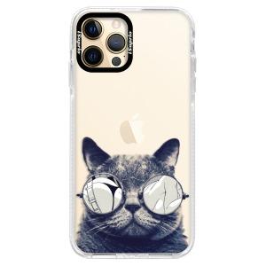 Silikonové pouzdro Bumper iSaprio - Crazy Cat 01 na mobil Apple iPhone 12 Pro
