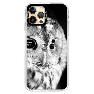 Silikonové pouzdro Bumper iSaprio - BW Owl na mobil Apple iPhone 12 Pro Max