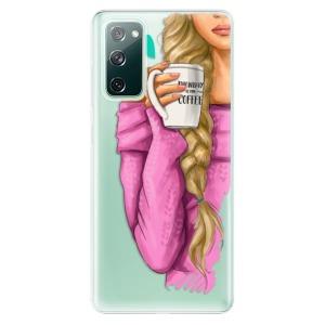 Odolné silikonové pouzdro iSaprio - My Coffe and Blond Girl na mobil Samsung Galaxy S20 FE / Samsung Galaxy S20 FE 5G