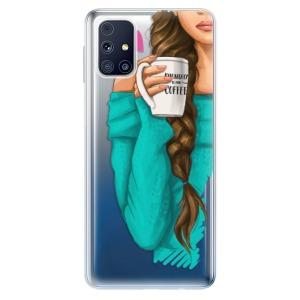 Odolné silikonové pouzdro iSaprio - My Coffe and Brunette Girl na mobil Samsung Galaxy M31s