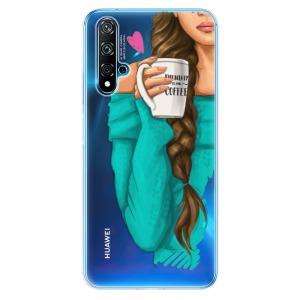 Odolné silikonové pouzdro iSaprio - My Coffe and Brunette Girl na mobil Huawei Nova 5T / Honor 20