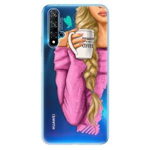 Odolné silikonové pouzdro iSaprio - My Coffe and Blond Girl na mobil Huawei Nova 5T / Honor 20