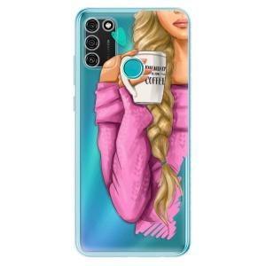 Odolné silikonové pouzdro iSaprio - My Coffe and Blond Girl na mobil Honor 9A