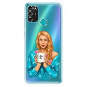 Odolné silikonové pouzdro iSaprio - Coffe Now - Redhead na mobil Honor 9A