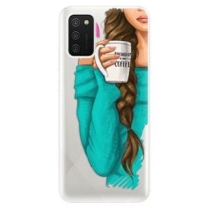 Odolné silikonové pouzdro iSaprio - My Coffe and Brunette Girl na mobil Samsung Galaxy A02s