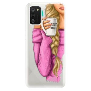 Odolné silikonové pouzdro iSaprio - My Coffe and Blond Girl na mobil Samsung Galaxy A02s