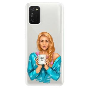 Odolné silikonové pouzdro iSaprio - Coffe Now - Redhead na mobil Samsung Galaxy A02s