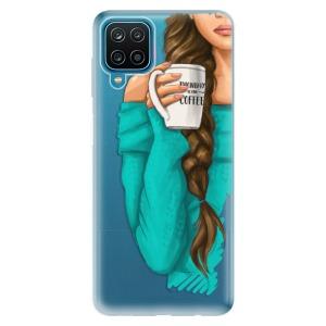 Odolné silikonové pouzdro iSaprio - My Coffe and Brunette Girl na mobil Samsung Galaxy A12