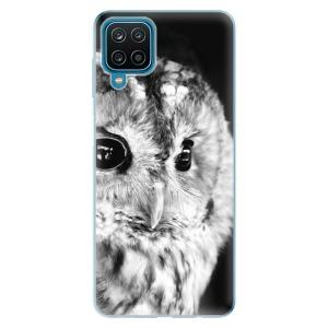 Odolné silikonové pouzdro iSaprio - BW Owl na mobil Samsung Galaxy A12