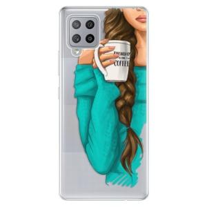 Odolné silikonové pouzdro iSaprio - My Coffe and Brunette Girl na mobil Samsung Galaxy A42 5G