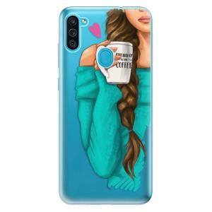 Odolné silikonové pouzdro iSaprio - My Coffe and Brunette Girl na mobil Samsung Galaxy M11