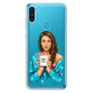 Odolné silikonové pouzdro iSaprio - Coffe Now - Brunette na mobil Samsung Galaxy M11