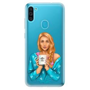 Odolné silikonové pouzdro iSaprio - Coffe Now - Redhead na mobil Samsung Galaxy M11