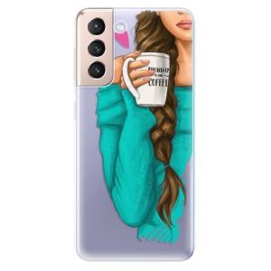Odolné silikonové pouzdro iSaprio - My Coffe and Brunette Girl na mobil Samsung Galaxy S21 5G
