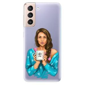 Odolné silikonové pouzdro iSaprio - Coffe Now - Brunette na mobil Samsung Galaxy S21 5G