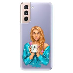 Odolné silikonové pouzdro iSaprio - Coffe Now - Redhead na mobil Samsung Galaxy S21 5G