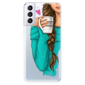 Odolné silikonové pouzdro iSaprio - My Coffe and Brunette Girl na mobil Samsung Galaxy S21 Plus 5G