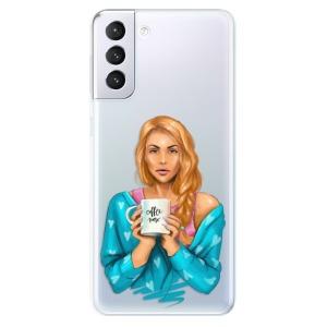 Odolné silikonové pouzdro iSaprio - Coffe Now - Redhead na mobil Samsung Galaxy S21 Plus 5G
