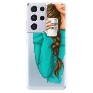 Odolné silikonové pouzdro iSaprio - My Coffe and Brunette Girl na mobil Samsung Galaxy S21 Ultra 5G