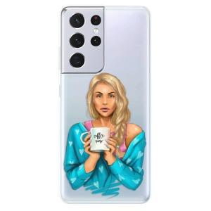 Odolné silikonové pouzdro iSaprio - Coffe Now - Blond na mobil Samsung Galaxy S21 Ultra 5G