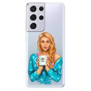 Odolné silikonové pouzdro iSaprio - Coffe Now - Redhead na mobil Samsung Galaxy S21 Ultra 5G