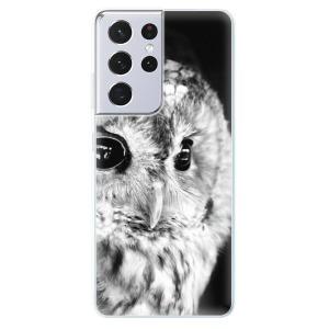 Odolné silikonové pouzdro iSaprio - BW Owl na mobil Samsung Galaxy S21 Ultra 5G