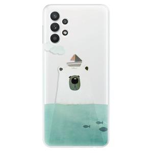 Odolné silikonové pouzdro iSaprio - Bear With Boat na mobil Samsung Galaxy A32 LTE