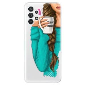 Odolné silikonové pouzdro iSaprio - My Coffe and Brunette Girl na mobil Samsung Galaxy A32 LTE