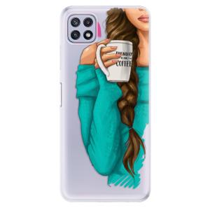 Odolné silikonové pouzdro iSaprio - My Coffe and Brunette Girl na mobil Samsung Galaxy A22 5G