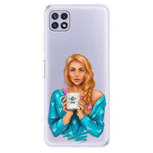 Odolné silikonové pouzdro iSaprio - Coffe Now - Redhead na mobil Samsung Galaxy A22 5G